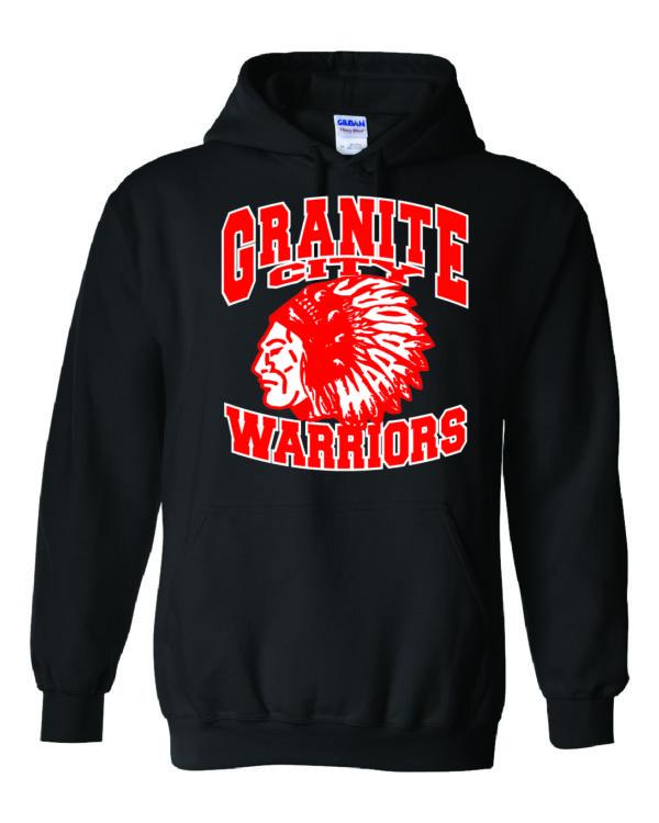 Granite City Warriors Black Hoodie Minutemen Press