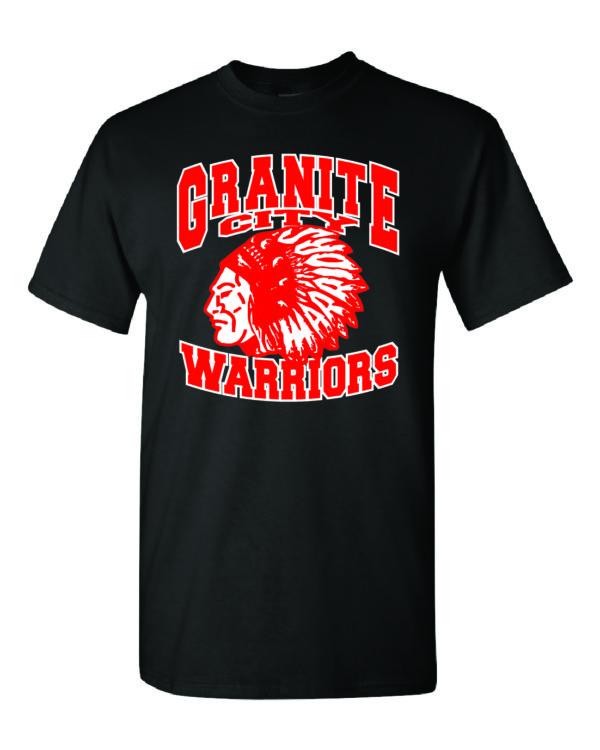 Granite City Warriors Black T-Shirt Minutemen Press